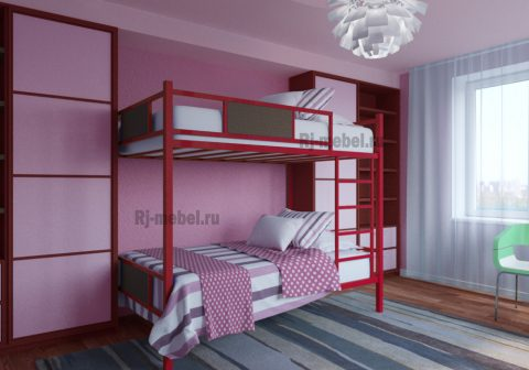 Двухъярусная металлическая кровать Зевс