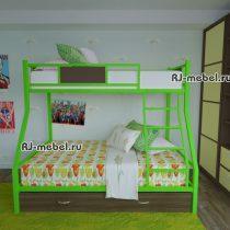 двухъярусная металлическая кровать зевс 2 (зеленая)
