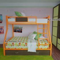 двухъярусная металлическая кровать зевс 2 (оранжевая)