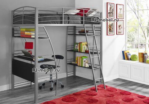 Двухъярусная металлическая кровать чердак Пифагор