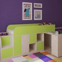 Двухъярусная деревянная кровать Астра мини Дуб-Салатовый