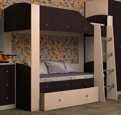 Двухъярусная деревянная кровать Астра 2 Дуб Венге