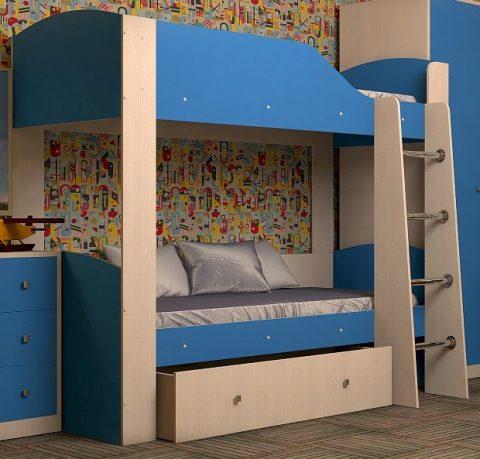 Двухъярусная деревянная кровать Астра 2 Синий