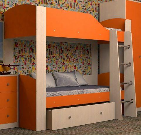 Двухъярусная деревянная кровать Астра 2 Оранжевый
