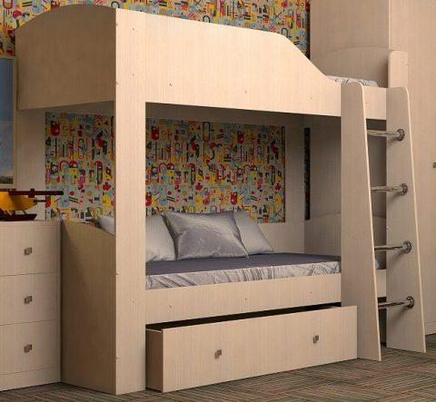 Двухъярусная деревянная кровать Астра 2 Дуб