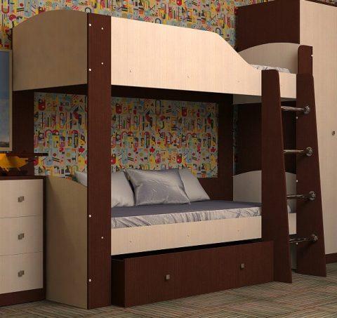 Двухъярусная деревянная кровать Астра 2 орех дуб