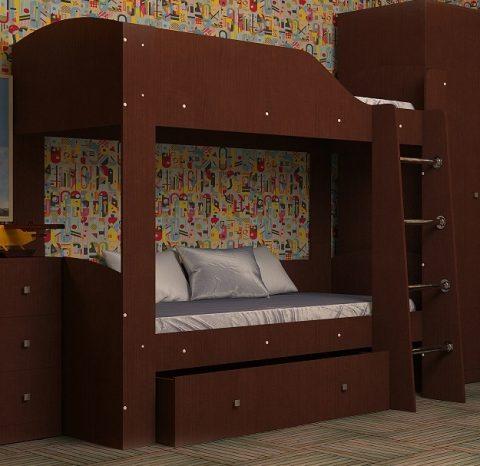Двухъярусная деревянная кровать Астра 2 Орех