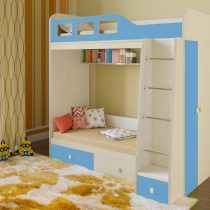 Двухъярусная деревянная кровать Астра 3 Синий