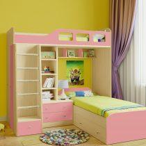 Двухъярусная деревянная кровать Астра 4 Розовый