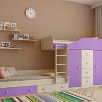 Двухъярусная деревянная кровать Астра 6 Дуб молочный - Фиолетовый
