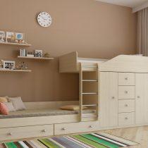 Двухъярусная деревянная кровать Астра 6 Дуб молочный
