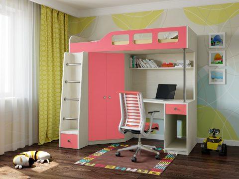 Двухъярусная деревянная кровать Астра 7 Дуб молочный - Розовый