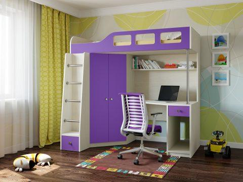 Двухъярусная деревянная кровать Астра 7 Дуб молочный - Фиолетовый