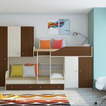 Двухъярусная деревянная кровать Лео Дуб молочный - Орех