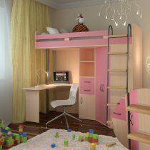 Двухъярусная кровать-чердак М-85 Дуб-Розовый