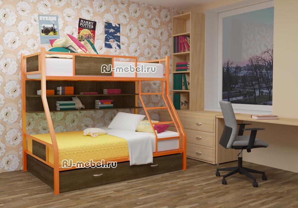 двухъярусная металлическая кровать ЗЕВС 3 для подростков
