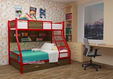 двухъярусная металлическая кровать ЗЕВС 3 с полками