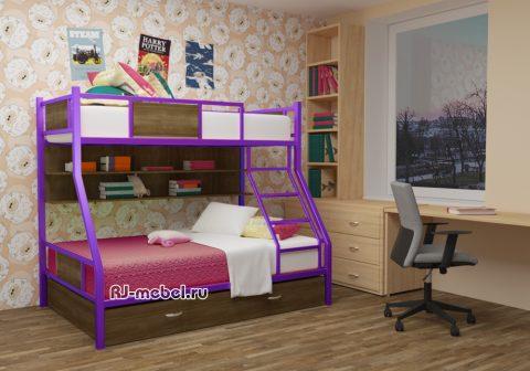 двухъярусная металлическая кровать ЗЕВС 3 с ящиками