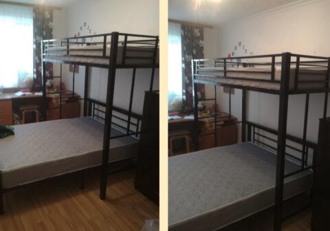 Двухъярусная металлическая кровать Троя 2